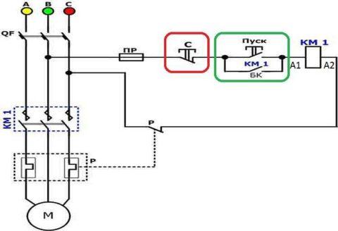 Схема подключения первичных и вторичных цепей схемы включения электродвигателя