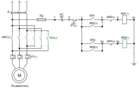 Схема реверсивного подключения электродвигателя с катушкой пускателя на 220В