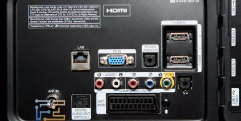 На задней панели этого телевизора есть вход под VGA