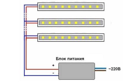 Схема подключения светодиодных лент к блоку питания