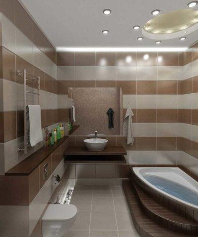 Зональная подсветка в небольшой по площади ванной