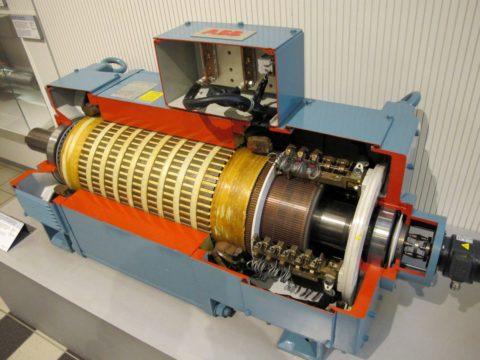 Машина постоянного тока коллекторная в разрезе