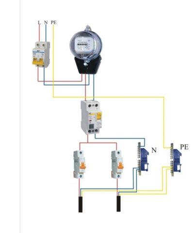 Параллельная схема подключения автомата в щитке