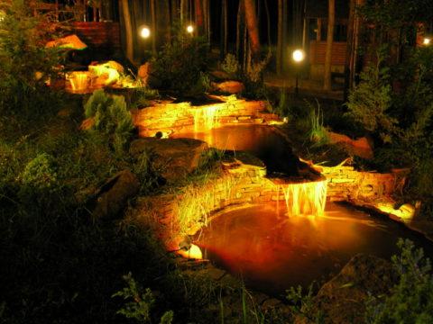 Подсветка каскада прудов
