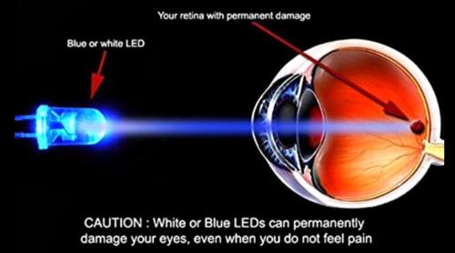 Белые и синие светодиоды способны повреждать глаза